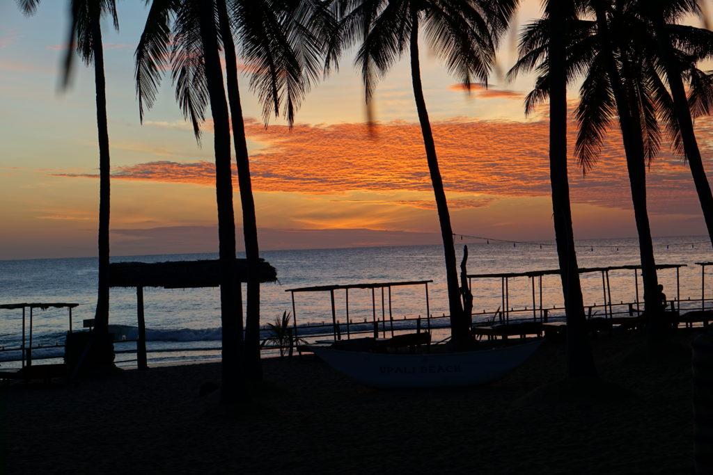 Abendstimmung mit rotem Himmel am Arugam Bay