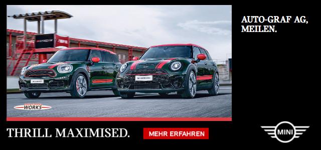 Autowerbung mit den neuen Modellen von Mini